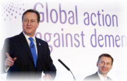 El Primer Ministro británico David Cameron, anfitrión y expositor en la 'G8 Dementia Summit'.