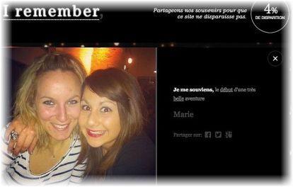 'Recuerdo el comienzo de una muy bella aventura' es el epígrafe que Marie escribió para su foto. Al momento de capturar este recuerdo, el sitio acusaba 4% de desaparición.