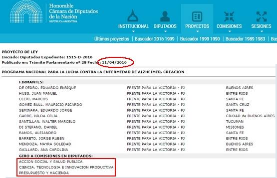 Captura del resultado provisto por el buscador del sitio web de la Cámara de Diputados de la Nación.
